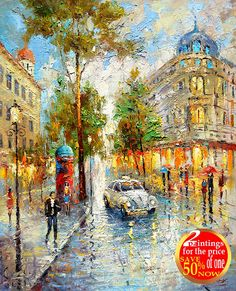 White taxi  Palette Knife Oil Painting on Cnavas by by spirosart
