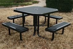 "industrial picnic tables. The Innovated Style features smaller hole size creating a smoother surface. The small hole 11 guage punched steel holes are equal to or will exceed the load bearing capacities of 3/4"" 9 guage expanded metal. The tables shown on this page have a 4"" square pedestal base.#picnictable"