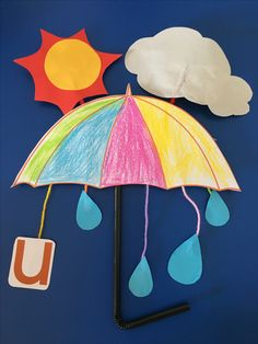 Letter 'U' - Umbrella  Sunny day & Rainny day