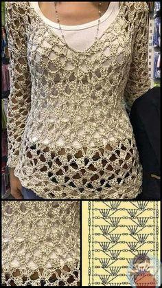 Crochet Vest Pattern, Crochet Jacket, Crochet Stitches Patterns, Crochet Blouse, Crochet Poncho, Crochet Designs, Knit Crochet, Crochet T Shirts, Crochet Clothes