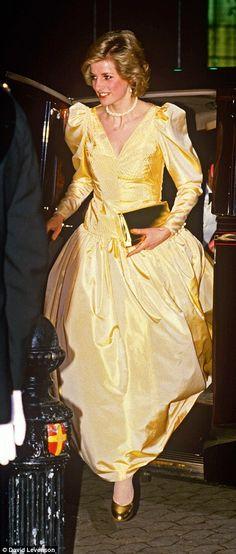 Sunburst: Post-pregnancies, Diana radiates glitz in a silk taffeta gown by Murray Arbeid i...