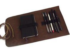 Cuero lápiz caso cuero pluma caso - Brown - estuche de viaje de cuero