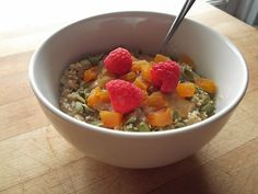 oatmeal with ground flax seed, agave syrup, and soy milk, topped with crunchy peanut butter, hemp hearts, pumpkin seeds, dried apricots, and raspberries