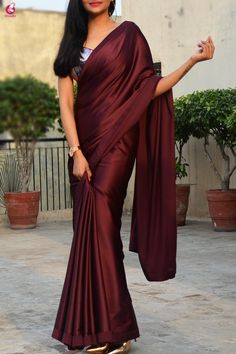 Buy Wine Satin Saree Online in India Trendy Sarees, Stylish Sarees, Fancy Sarees, Saree Blouse Patterns, Sari Blouse Designs, Saris, Indische Sarees, Satin Saree, Lace Saree
