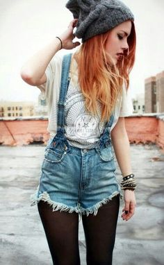 denim overall shorts w/ stockings - Google Search