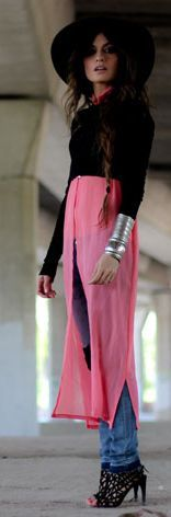 Baleeblu Pink Semi Sheer Sleeveless Maxi Blouse Dress by Madame De Rosa