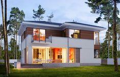 แบบบ้าน 2 ชั้น สไตล์ร่วมสมัย ตกแต่งแบบกึ่งไม้กึ่งปูน | NaiBann.com