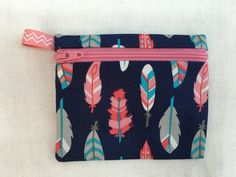 Feathers on Navy Zipper Coin Purse, Credit Card, Earbud, IPod Pouch by NancyPKdesigns on Etsy