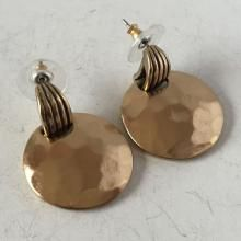 Gold color dangling earrings with push backs, hallmarked CHICO'S