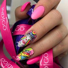 Nails art by Indigo Piaseczno by Lena Kurach #nails #nail #indigo #indigonails #pinknails #pink #nailsart #icon #cartoon #omg #wow #swagnails #swag