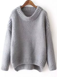 To find out about the Grey Round Neck Dip Hem Knit Sweater at SHEIN, part of our latest Sweaters ready to shop online today! Grey Long Sleeve Shirt, Long Sleeve Sweater, Gray Shirt, Loose Knit Sweaters, Pullover Sweaters, Knitting Sweaters, Knit Shirt, Look Fashion, Street Fashion