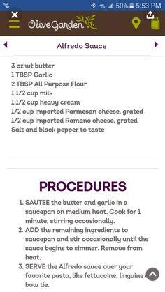 Pasta dishes recipes olive gardens alfredo sauce New Ideas Copycat Recipes, Sauce Recipes, Pasta Recipes, Cooking Recipes, Dessert Recipes, Chicken Recipes, Dishes Recipes, Recipes Dinner, Baked Chicken