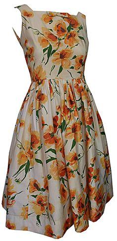 1950s cotton floral print day dress.