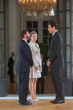 (L-R) Prince Guillaume and his wife Princess Stephanie chat with Jean-Christophe, Prince Napoleon on June 17, 2015 in Brussel, Belgium.