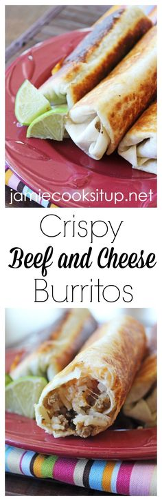 Crispy Beef and Cheese Burritos from Jamie Cooks It Up! These crispy burritos can be made in about 15 minutes and make good use out of leftover taco meat and rice. Meat Recipes, Mexican Food Recipes, Cooking Recipes, Healthy Recipes, Vegetarian Mexican, Hamburger Recipes, Mexican Dishes, Vegetarian Meals, Rice Recipes