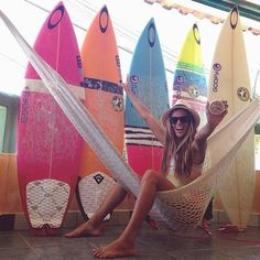 Super cute and color boards! Surfer girl having an awesome day! www.chicasurfadventures.com