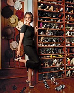 A Peek into Celebrity Closets In love with this gorgeous wood closet that belongs to Jessica Alba. Also, who wouldn't want a shoe collection like that? Jessica Alba, Celebrity Shoes, Celebrity Closets, Room Closet, Closet Space, Master Closet, Shoe Room, Shoe Wall, Closet Doors