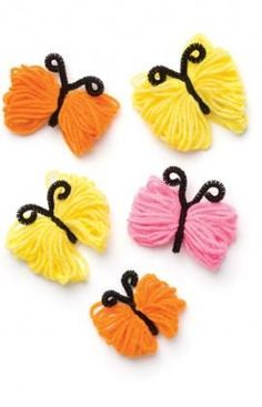 You don't have to know how to knit or crochet to make these colourful butterflies. Use them to accent a girl's room décor, for party trims, or glue to refrigerator magnets or hair barrettes.