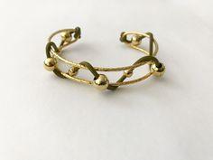 Brazalete trenzado con cuero, Baño de oro Q195 D