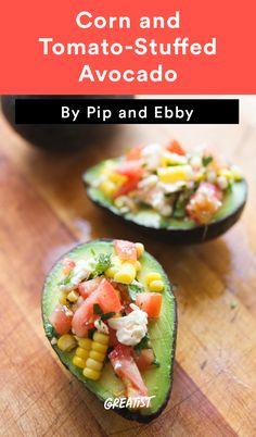 8. Corn and Tomato-Stuffed Avocado #healthy #recipe #stuffedavocado #avocado http://greatist.com/eat/stuffed-avocado-recipes