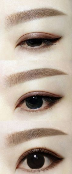 Asian brown-schemed eye makeup. Straight eyebrows.