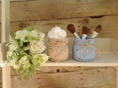 LARGE Elite JARS - Set of Two Painted and Distressed Mason jars. French Country. Cosmetic Bridal Shower Gift. Shabby Chic.  Rustic Bathroom....