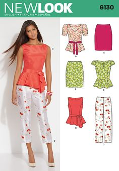 New Look 6130 Misses Top, pants, skirt and belt  Misses' peplum top with neckline and sleeve variations, slim pants, pencil skirt and tie belt.
