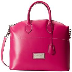 Valentino Bags by Mario Valentino Bravia ($450) ❤ liked on Polyvore featuring bags, handbags, shoulder bags, fuchsia, purses, valentino, pink purse, genuine leather shoulder bag, leather hand bags and hand bags