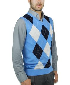 Ten West Men's Cardigan Pocket Argyle Sweater Vest, Size: Large ...