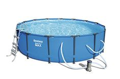 Bestway Steel Pro MAX Above Ground Pool > Tri-tech material liner featuring heavy-duty PVC and polyester side walls Corrosion-resistant metal frames Pool equipped with seal & lock system for a safe and secure pipe connection Best Above Ground Pool, Above Ground Swimming Pools, In Ground Pools, Piscina Intex, Max Steel, Garden Power Tools, Intex Pool, Filter, Garden Yard Ideas