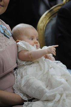 Princess Estelle of Sweden at her christening. As little as she was, even then she was so in contact with people.