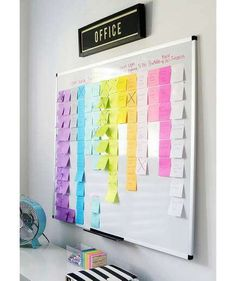 Organized Project Board via A Bowl Full of Lemons // Remarkable home office wall organization ideas Organisation Hacks, Home Office Organization, Storage Hacks, Office Storage, Office Decor, Organizing Ideas, White Board Organization, Storage Solutions, Office Ideas