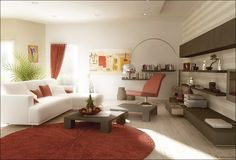 , Modern Red Living Room Decor With White Couch Set And Red And White Cushions Color Also Brown Wall Units And Coffee Table Also Red Fur Rug With Circle Shaped And Untreated Floorboards Design Also Red Curtain: The Ideas of Red Living Room Decor