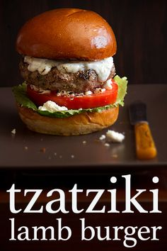 Tzatziki Lamb Burgers combines our love of the American style, backyard barbecue and our favorite handheld Greek specialty known as gyros. Lamb Recipes, Greek Recipes, Cooking Recipes, Lamb Burger Recipes, Danish Recipes, Paninis, Hot Dogs, Table D Hote, Lamb Burgers