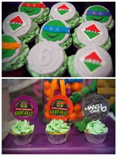 Teenage Mutant Ninja Turtles Birthday Extravaganza - Pretty My Party - #tmnt #birthday #party #ideas #dessert #table #teenage #mutant #ninja #turtles