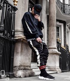 WEBSTA @ outfitsociety - Comment a ✴ black emoji for this cool outfit.@shrfz #OutfitSociety.424 Cap Calabasas Sweatshirt DSRCV Pants and TeeVetements Socks and Balenciaga Speed Trainer
