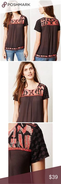 "Anthropologie Embroidered Nerine Top Embroidered Nerine Top HD in Paris Anthropologie ❤️As effortless as a tee, this beautifully embroidered top from HD in Paris is the perfect way to polish up everyday denim. Beautiful detail on sleeves for added styling. Size: 12 Dimensions; L: 26"" B: 21"" approx Fibers: 100% Rayon. Worn 3X times. Anthropologie Tops"