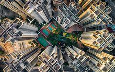 Lataa kuva Hong Kong, Aasiassa, Kiina, pilvenpiirtäjiä, rakennukset, näkymä ylhäältä