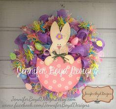 Adorable Spring Easter mesh wreath by Jennifer Boyd Designs. $90.00, via Etsy.    Find me on Facebook!  www.facebook.com/JenniferBoydDesigns  JenniferBoydDesigns.etsy.com