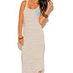 "⬇$4 ship 22 min Ivory/rust stripe print maxi dress ~~Ivory/rust stripe print maxi dress w chambret pocket. Pocket says ""pretty"" ~~Rust/ivory stripe print, chambray pocket maxi dress or sundress  ~~sells $100 $msrp ~~new ~~size 2, xs or s ( model 32c wears small) ~~55%, 45% modal, stretchy ~~brand: pretty penny stock ~~measurements soon Pretty Penny Dresses Maxi"