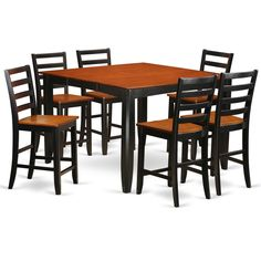 FAIR7-BLK-W /Cherry 7-piece Counter Height Table and Chair Set