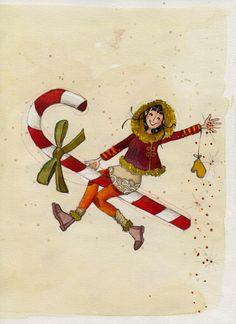 """By Anne Soline. """"Sucre d'orge"""", illustration originale à l'aquarelle : Peintures par anne-soline-sintes"""