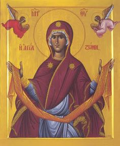 """The icon depicts the most Holy Virgin Mary holding her """"zoni"""" belt or Holy… Hail Holy Queen, Religion, Archangel Raphael, Byzantine Icons, Byzantine Art, Holy Mary, Blessed Virgin Mary, Orthodox Icons, Mother Mary"""