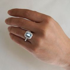 14K White Gold Cushion Cut Diamond Halo Aquamarine by SAMnSUE, $1750.00
