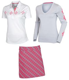 AUR Peony golf outfit sweater polo shirt and skort