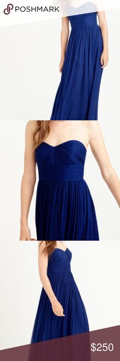 J. Crew silk chiffon navy blue Marbella dress I bought this cute J. Crew dress for my prom, and unfortunately it did not fit. This dress is perfect for prom, a bridesmaid dress, or any other fancy occasion! It is navy blue chiffon, strapless, and has never been worn. J. Crew Dresses Prom