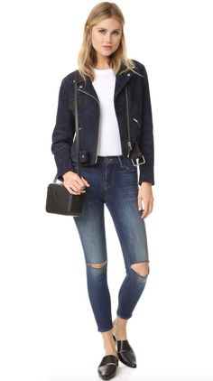 J BRAND Alana High Rise Crop Rip Skinny Jeans Pants Dark Blue Volatile 25 $228 #JBrand #SlimSkinny