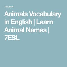 Animals Vocabulary in English | Learn Animal Names | 7ESL