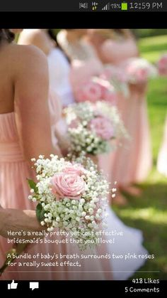 Love this idea for the bridesmaids plain and simply with a single pink rose and baby breath. Will bring the ribbon for the handle