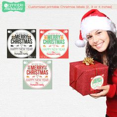MyPrintableMiracles: Christmas gift tags Printable christmas gift card Personalized holiday gift tags Digital sticker Square holiday labels Print at home (6.00 USD)